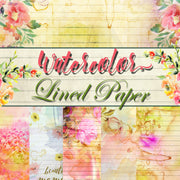 Lined Journal Paper Pack Bundle - 50 Lined Papers/Designs