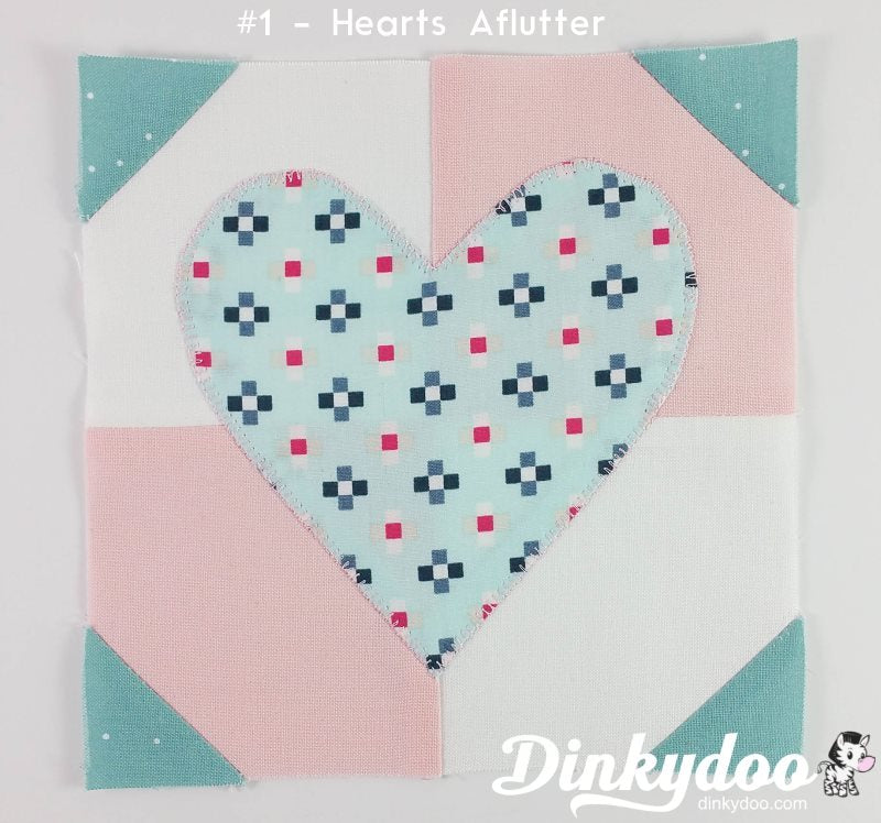 splendid sampler block 1 hearts aflutter