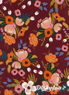 Amalfi - Lively Floral Burgundy (Rayon) - Rifle Paper Co - Cotton + Steel (Pre-order: May 2018)