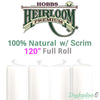 "Hobbs Heirloom 100% Natural Cotton Batting (With Scrim) - 120"" (Full Roll 30 Yd.)"