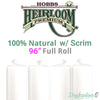 "Hobbs Heirloom 100% Natural Cotton Batting (With Scrim) - 96"" (Full Roll 30 Yd.)"