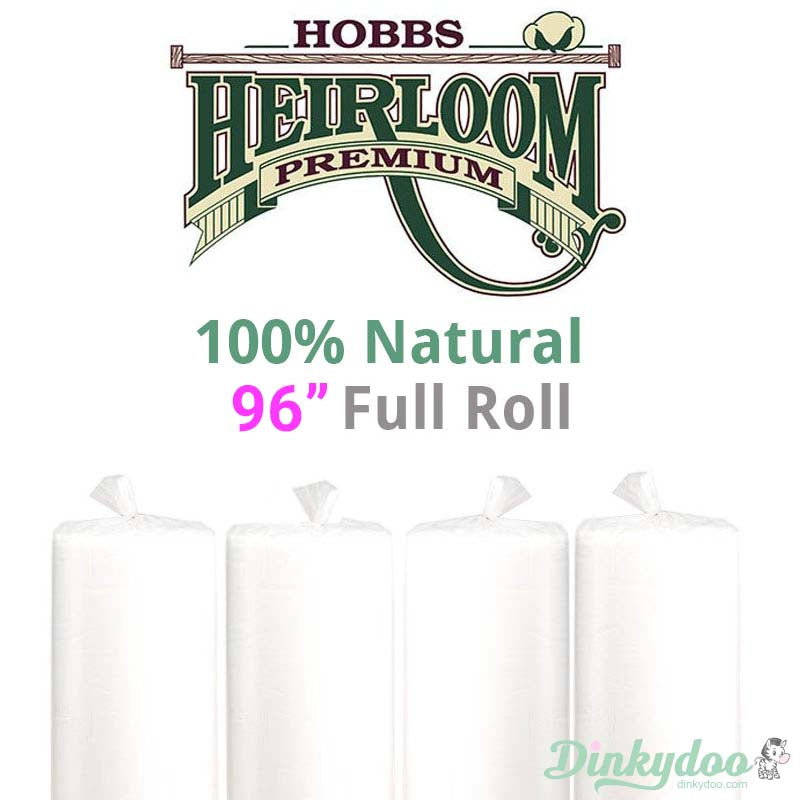 "Hobbs Heirloom 100% Natural Cotton Batting - 96"" (Full Roll 30 Yd.)"