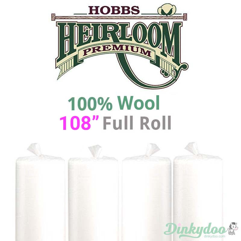 "Hobbs Heirloom 100% Wool Batting - 108"" (Full Roll 25 Yd.)"