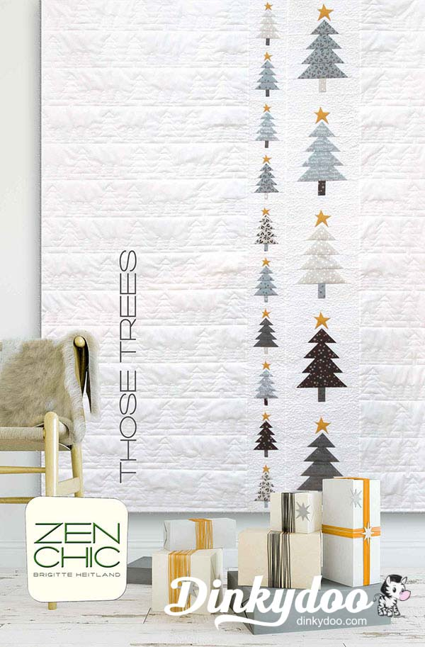 White Christmas Those Trees Quilt Kit Zen Chic Moda