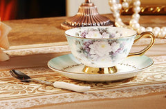 Floral Tea Cup & Spoon & Saucer Set