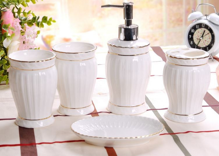 High End Classy Porcelain Bath Set (5 Pcs)