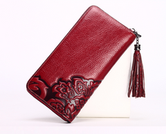 Classic Chinese Embossed pattern wallet with fringe