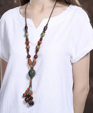 Chinese Wood/Stone Necklace