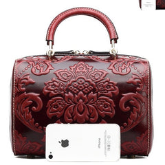 Classic Chinese Embossed Pattern boston bag
