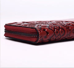 Classical Chinese Embossed pattern wallet with fringe