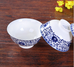 56 PCs Chinese Style Blue and White Porcelain Dining Set
