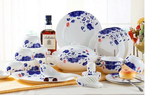 56 PCs Bone China Chinese Style Dining Set