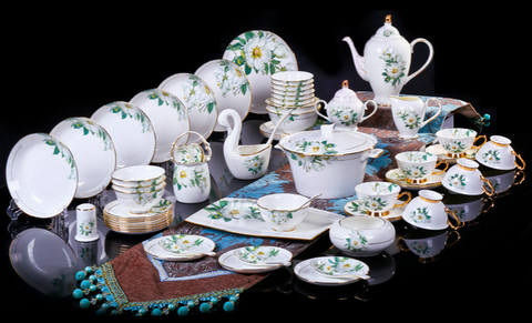 80 PCs Luxury Lily Bone China Dining Set