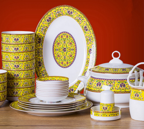 46 PCs Bone China Chinese Royal Dining Set