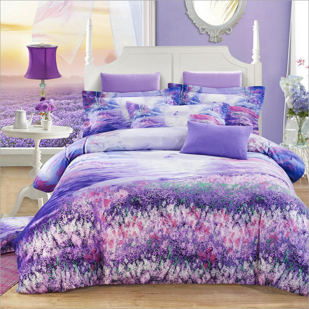 Luxury Bedding Set With Flowers - purple dream land