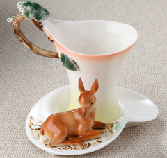 Bambi Deer Tea Cup & Saucer & Spoon Set (3 Pcs)