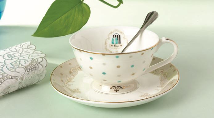 Cute Dot Tea Cup Set & Saucer & Spoon Set (3 Pcs)