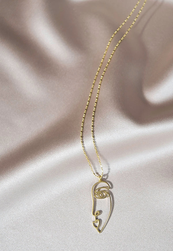 Half Face Pendant Necklace