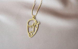 Picasso Face Pendant Necklace
