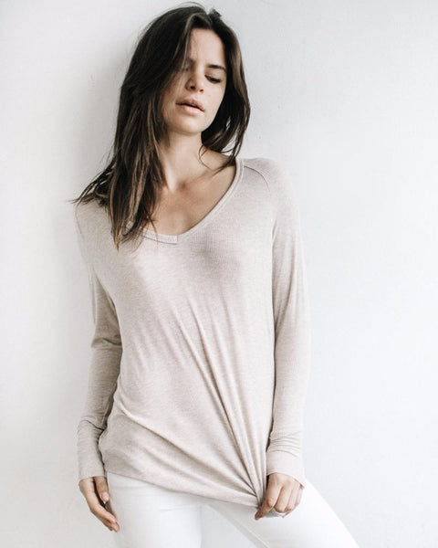 Joah Brown | For Keeps V-Neck | Oatmeal Rib-Tops-Mod + Ethico