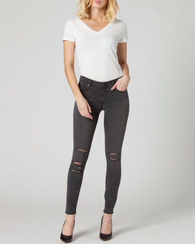 KAM Eternal Distressed Pewter Grey Skinny Mid-rise Jean-Bottoms-Mod + Ethico