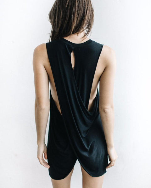 Joah Brown | Easy Peasy Wrap-Back Tunic | Black-Tanks-Mod + Ethico