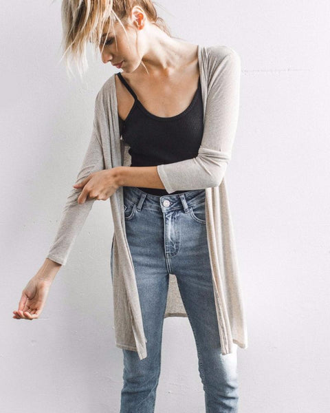 Joah Brown | Long Cardigan | Oatmeal Rib-Cardigan-Mod + Ethico