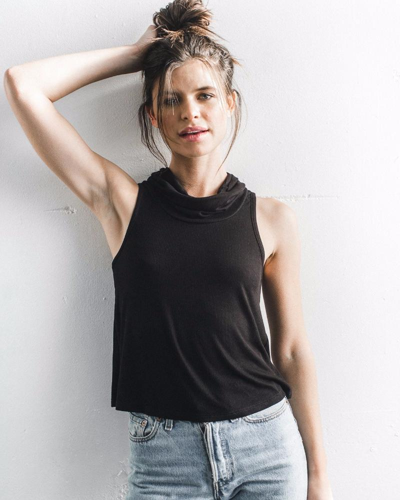 Joah Brown | High Society Ribbed Cowl Neck Tank | Black-Tops-Mod + Ethico