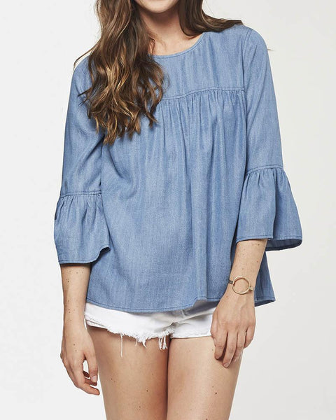 Glam | Chambray Tencel Ruffle Sleeve Top | Blue-Blouses-Mod + Ethico