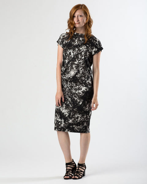 Draped Modal Midi Dress in Black & White Forest Print-Dresses-Mod + Ethico