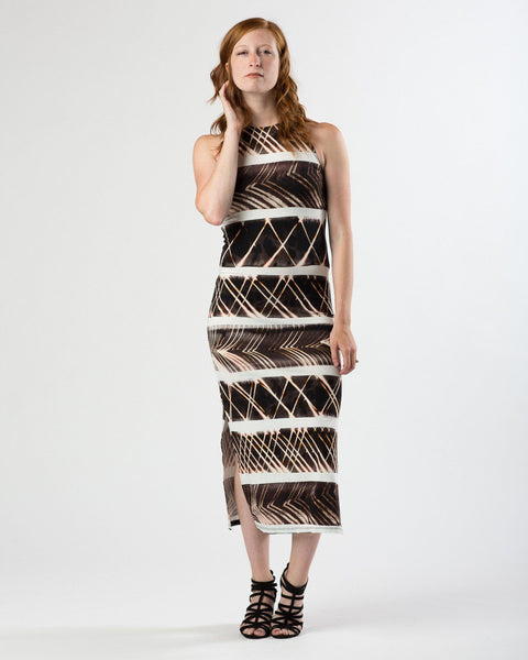 Suki + Solaine | Racerback Midi with Side Slits | Tribal Print-Dress-Mod + Ethico