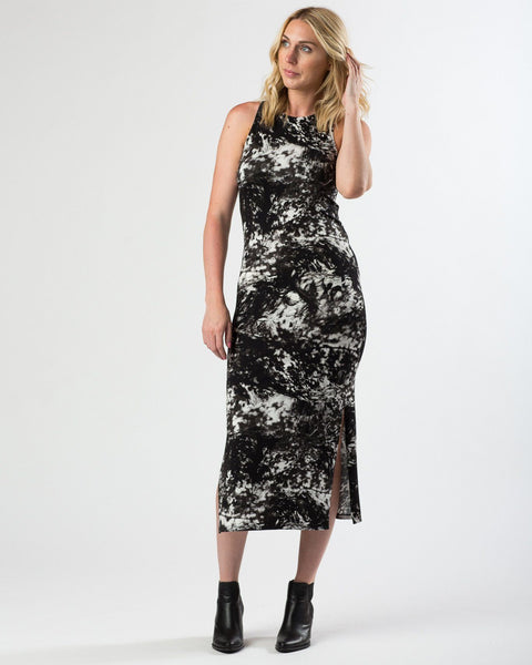 Suki + Solaine | Racerback Midi with Side Slits | Forest Floor Print-Dress-Mod + Ethico