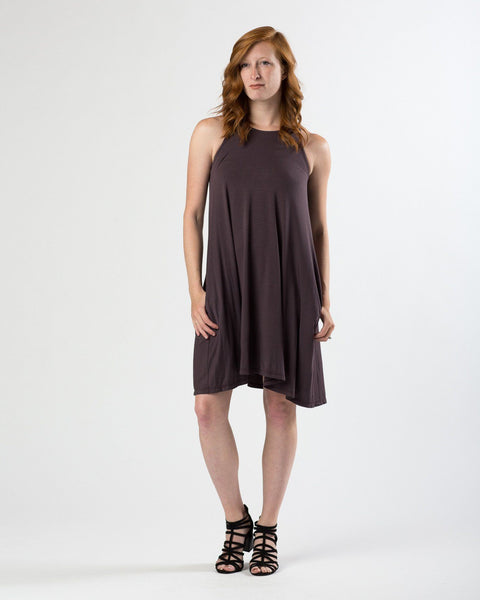 Sleeveless Trapeze Dress in Plum-Dresses-Mod + Ethico