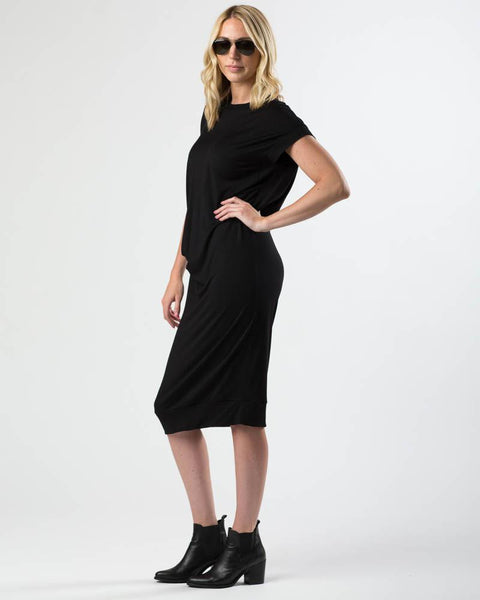 Draped Cupro Midi Dress in Black-Dresses-Mod + Ethico