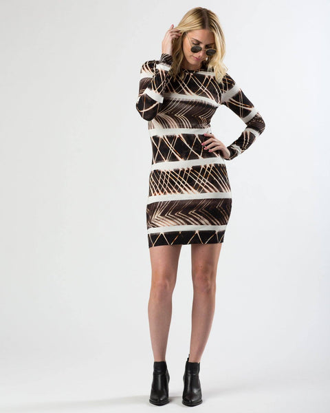 Suki + Solaine | Long Sleeve Mini Crew Neck Dress | Tribal Print-Dress-Mod + Ethico