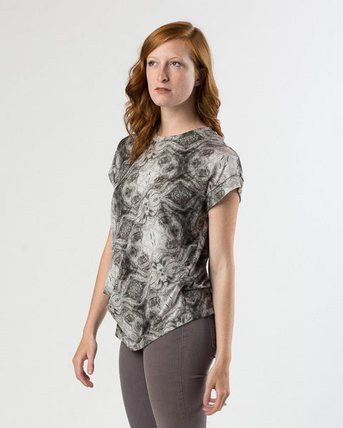 Suki + Solaine Draped Modal Top | Rowan Print-Short-Sleeve Top-Mod + Ethico