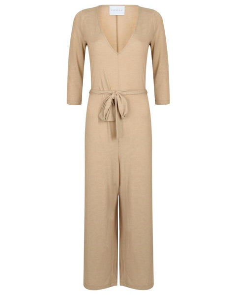 Cossac | Beige Long Sleeve Knit Jumpsuit-Jumpsuit-Mod + Ethico