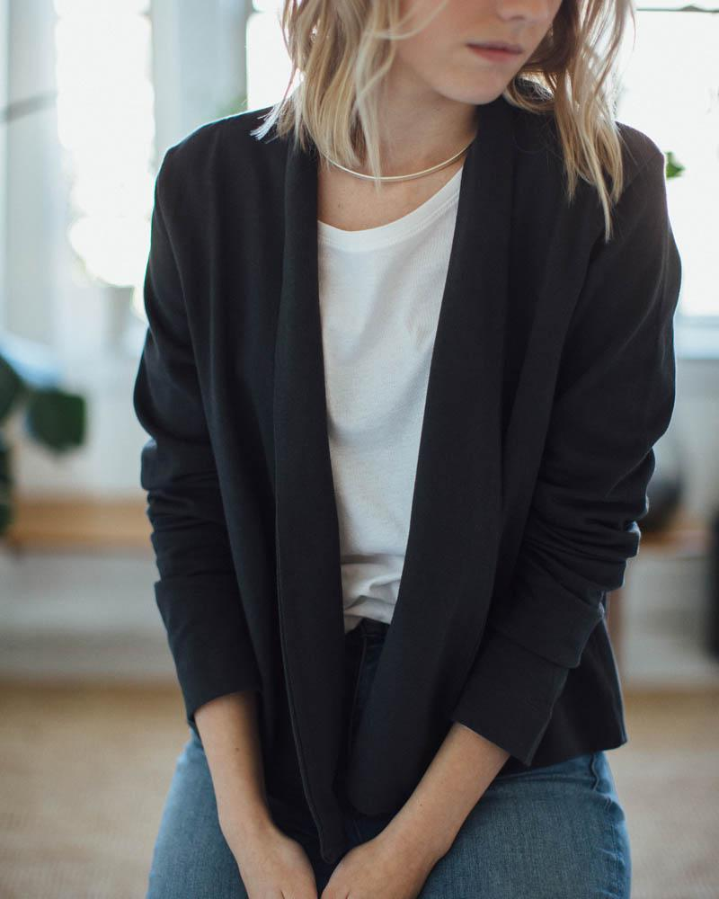 Kowtow | Building Block Cardigan | Charcoal-Tops-Mod + Ethico