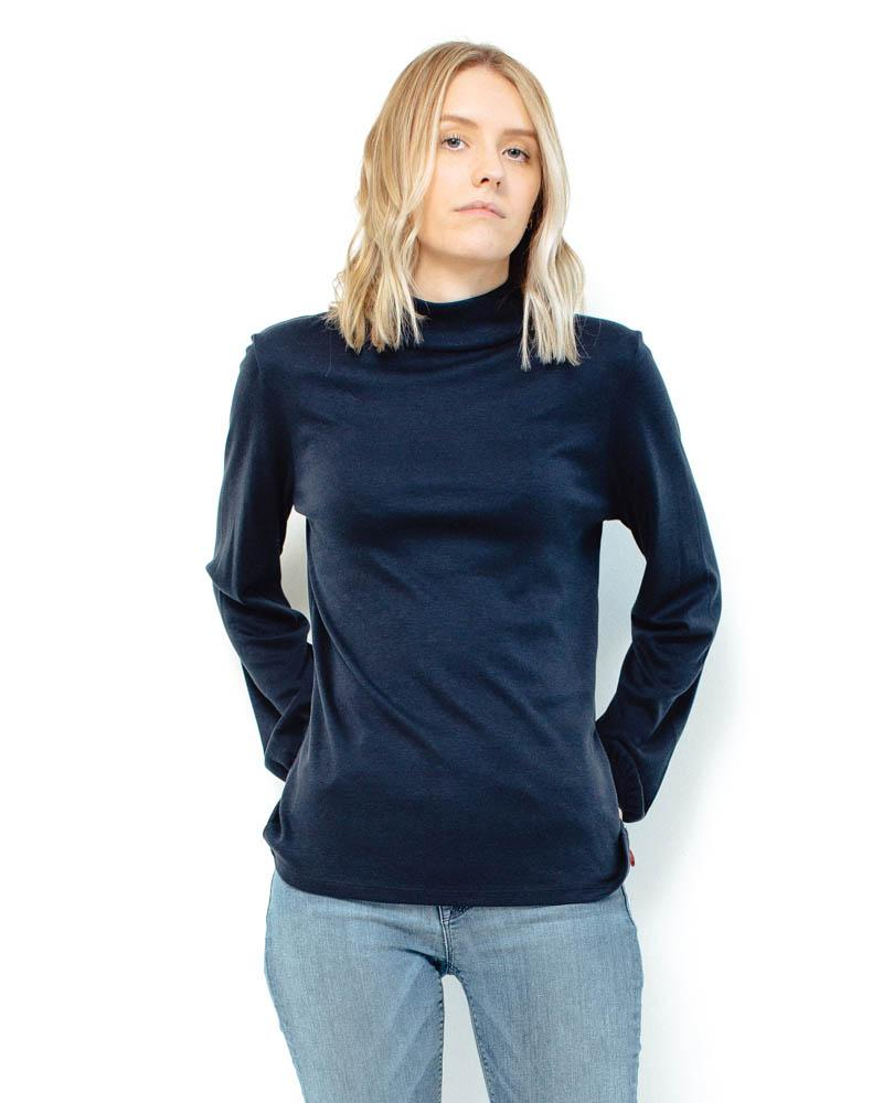 People Tree | Caroline Top | Navy-Longsleeve Tops-Mod + Ethico
