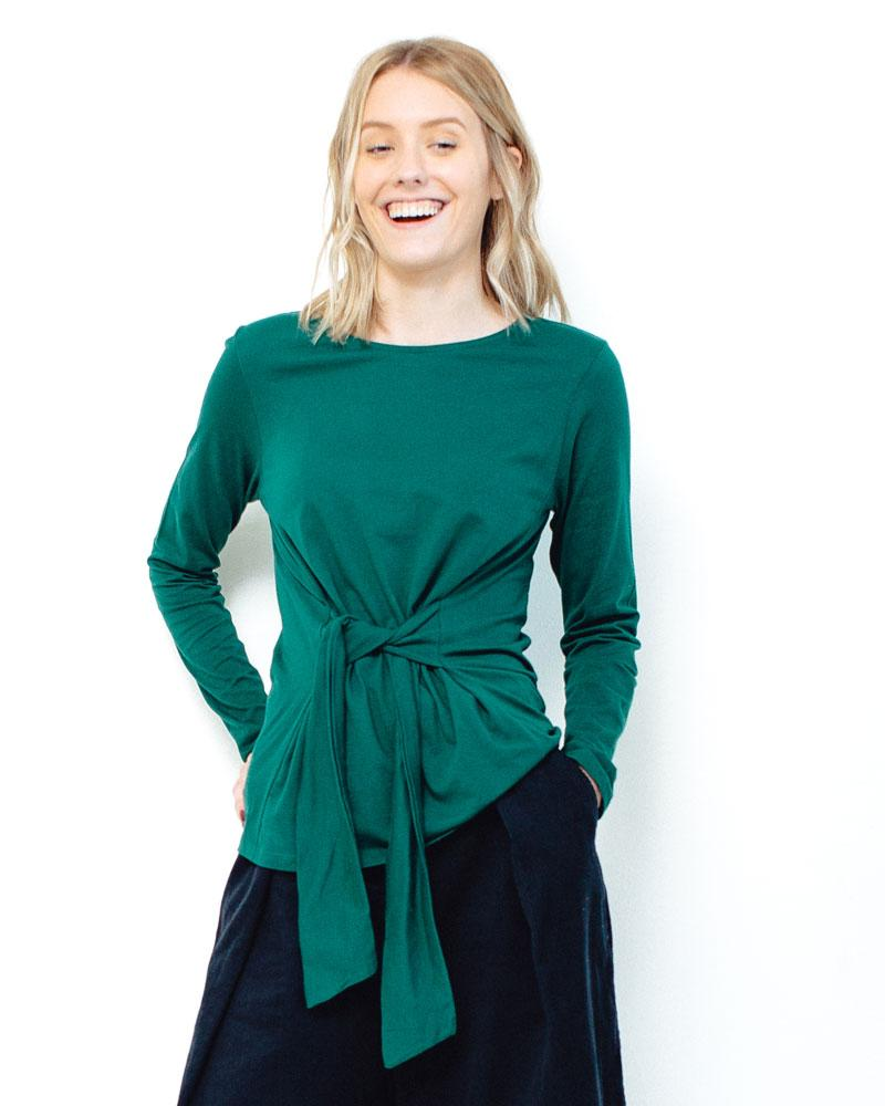 People Tree | Pippa Tie Top | Green-Longsleeve Tops-Mod + Ethico