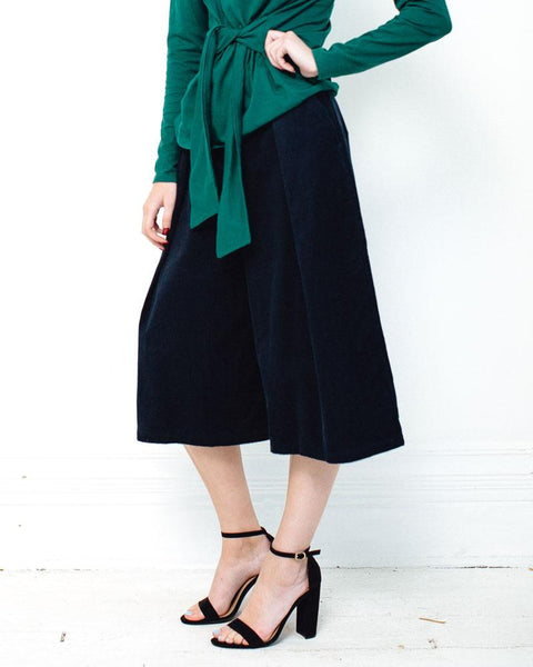 People Tree | Janine Corduroy Culottes | Navy-Bottoms-Mod + Ethico