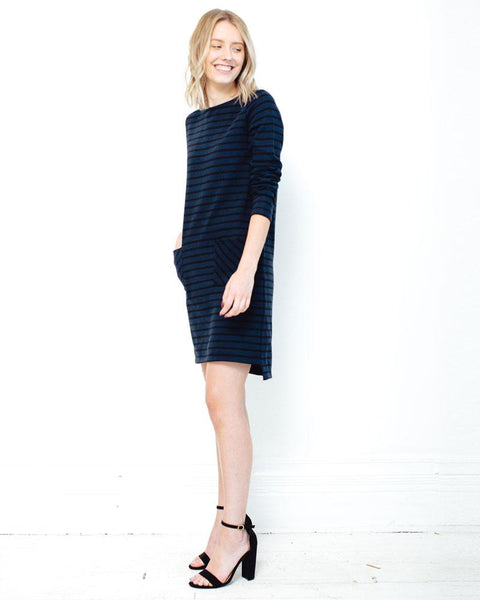 People Tree | Harper Stripe Tunic | Navy/Black-Dress-Mod + Ethico