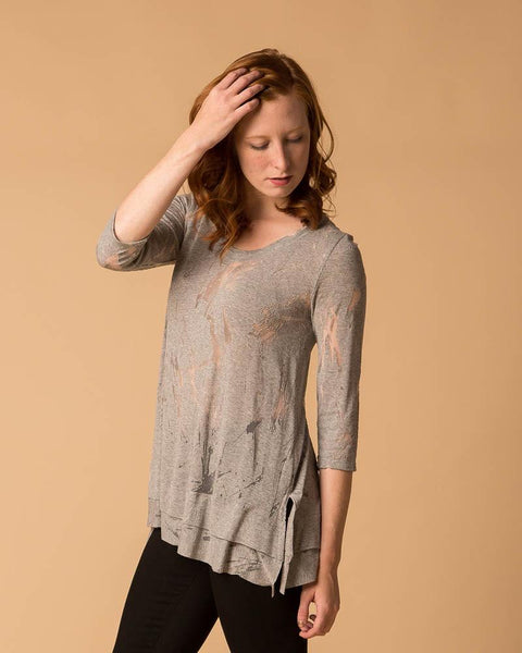 Lux Burnout 3/4 Sleeve Swing Tee-Short-Sleeve Top-Mod + Ethico