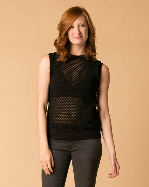Suki + Solaine Black Sheer Double Mesh Muscle Tank Top-Tanks-Mod + Ethico