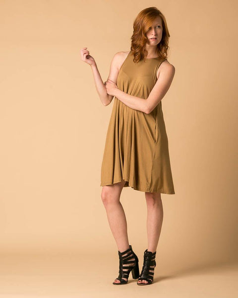 Sleeveless Trapeze Dress in Antique Bronze-Dresses-Mod + Ethico
