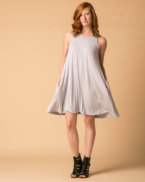 Sleeveless Trapeze Dress in Gray Dawn-Dresses-Mod + Ethico