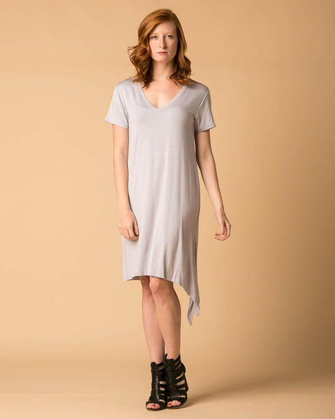 Tie-Side V-Neck Tee Dress in Gray Dawn-Dresses-Mod + Ethico