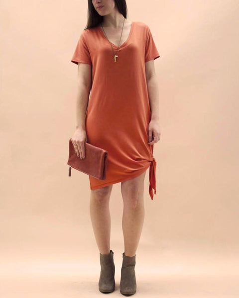 Tie-Side V-Neck Tee Dress in Carnelian-Dresses-Mod + Ethico