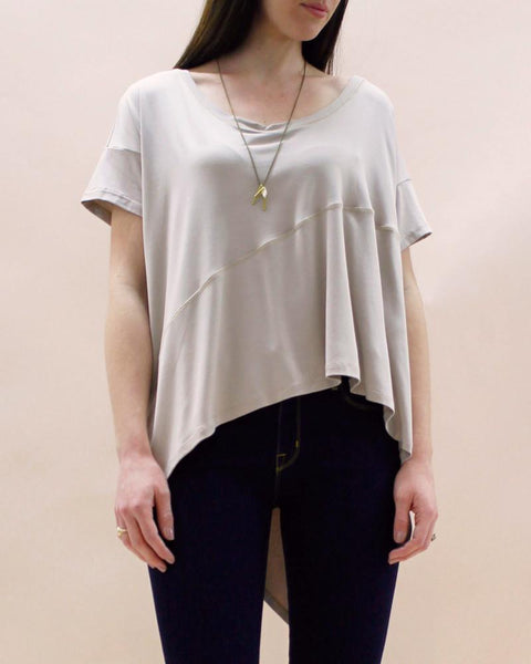 Suki + Solaine | Essential Panel Box Tee | Taupe-Tops-Mod + Ethico