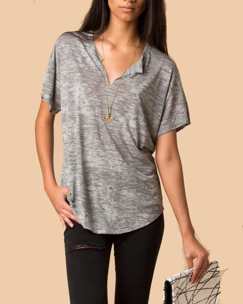 Nation LTD Karen Grey Burnout Slit V-Neck Short Sleeve Tee-Short-Sleeve Top-Mod + Ethico